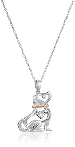 Sterling Silver with Pink Gold Plating Diamond Dog Dancing Pendant Necklace 18