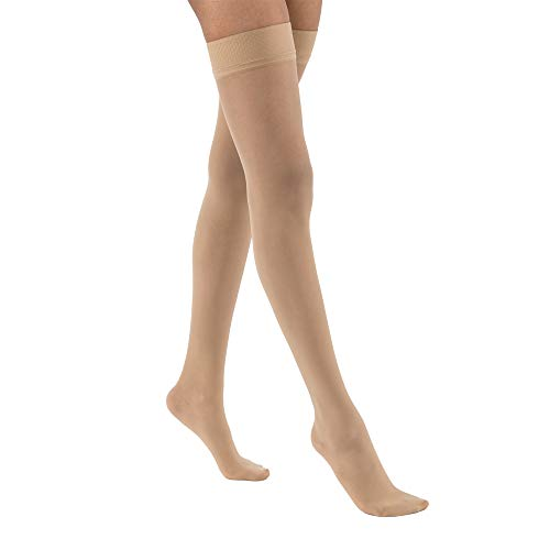Women's Ultrasheer 30-40 mmHg Thigh High Extra Firm Support Sock with Dotted Silicone Top Band Size: Small, Color: Natural