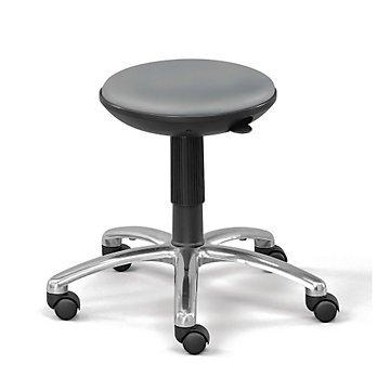 Taburete de espuma de poliuretano (asiento de poliuretano negro/base de aluminio pulido/
