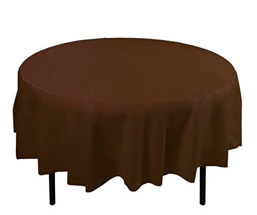 Brown Plastic Tablecloth (6-Pack Premium Plastic Tablecloth 84in. Round Plastic Table cover -)
