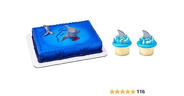 "Shark 7.5/"" Cake Topper icing sheet.891 12 Cupcake Topper Birthday Wafer"