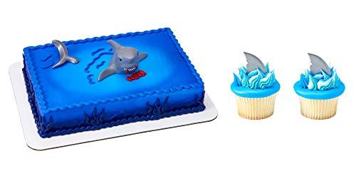 (Shark Cake Topper & 12 Shark Fin Cupcake Picks)