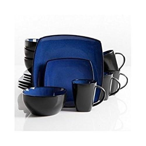 Square Dinnerware Service for 8 Plates Bowls Mugs 32-Piece Set Modern Blue u0026 Black  sc 1 st  Amazon.com & Modern Dinnerware Sets: Amazon.com