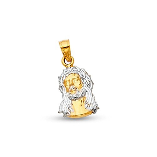Jesus Face Pendant Solid 14k Yellow White Gold Jesus Piece Charm Genuine Two Tone 21 x 11 mm (Charm Gold Jesus Christ)