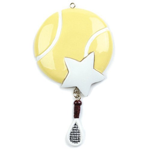 Personalized Tennis Christmas Ornament for Tree 2018 - Sports Ball with Gold Star and Sneakers Dangling Team Player Athlete USOPEN - Coach Hobby School Active Foot Profession - Free Customization