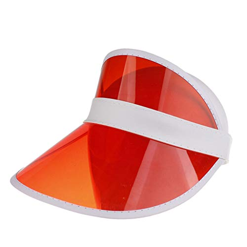 (Toponly Sun Cap Large Brim Visor UV Protection Face Shield Hat Velcro Packable Red)