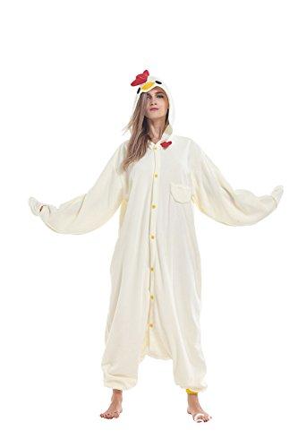 Sqlszt Animal Onesie Adult Chicken One Piece Cosplay Pajamas Costume for Women Men XL -