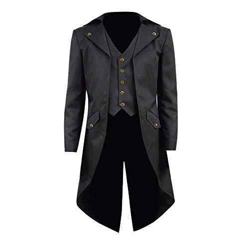 COSSKY Boys Gothic Tailcoat Jacket Steampunk Long Coat Halloween Costume (Black(B), 10) -