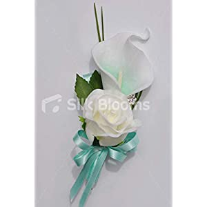 Silk Blooms Ltd Artificial Mint Green Calla Lily and Ivory Rose Wedding Buttonhole w/Satin Ribbons 120