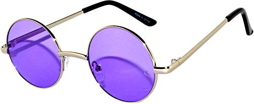 (Round circle Sunglasses Purple Lens Metal Frame)