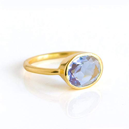 Oval Alexandrite Quartz Gemstone Ring Set in Vermeil Gold or Sterling Silver, June Birthstone