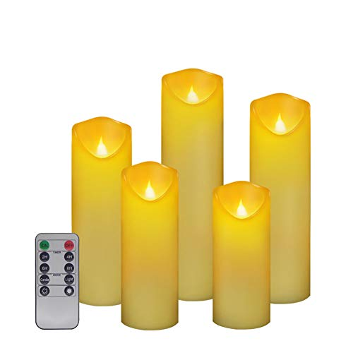 Set of 5 Flickering pillar candles with remote.