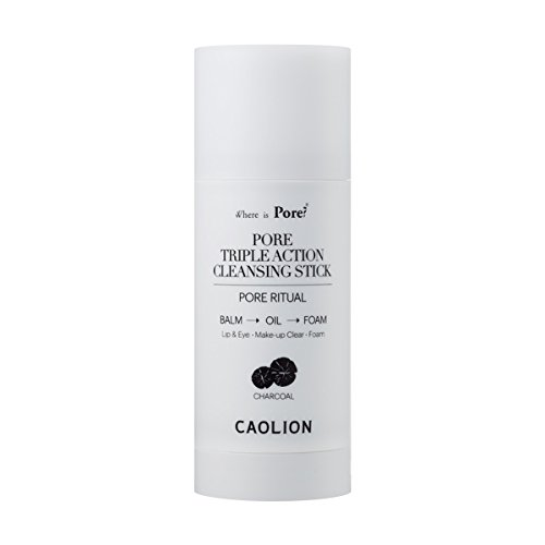 Caolion Pore Triple Action Cleansing Stick (Charcoal) - Cleanses Make-up For Sensitive Skin - 1.76 oz.