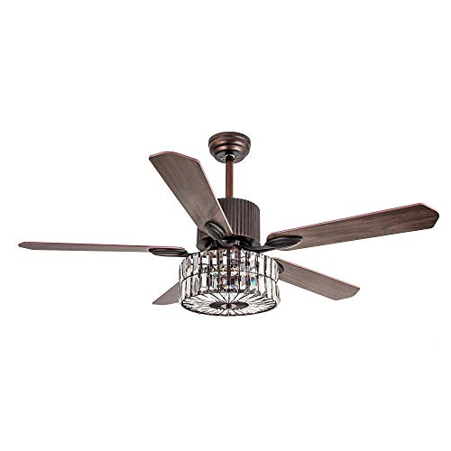 - Parrot Uncle Remote Control 52 Inch Ceiling Fan With Light 5 Reversible Blades Crystal Chandelier 3 Lights, Edison Bulb, Not Included, Bronze