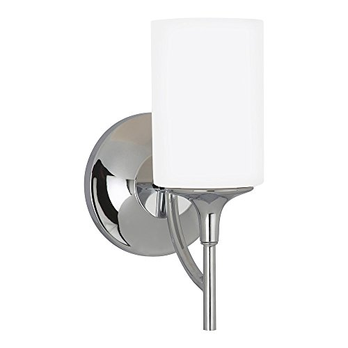(Sea Gull Lighting 44952-05 Stirling One-Light Bath or Wall Sconce with Cased Opal Etched Glass Shade, Chrome)
