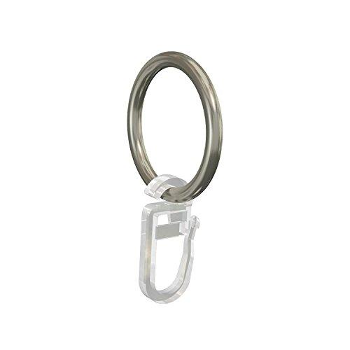 Flairdeco 11051501-2033 Ringe mit Faltenhaken für 16 mm Durchmesser Gardinenstangen, Packungsinhalt 20 Stück, chrom matt aus metall