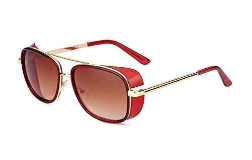 hommes et lunettes de femmes lunettes protection Retro Vintage de soleil Carré Hellomiko polarisant Marron Non pour Rouge UV400 HORxq6f