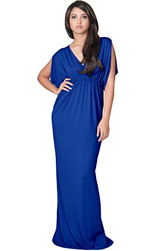 KOH Neck Dress Cobalt Empire Long KOH Royal Summer V Waist Womens Short Blue Party Sleeve Maxi dn7wOqYgw