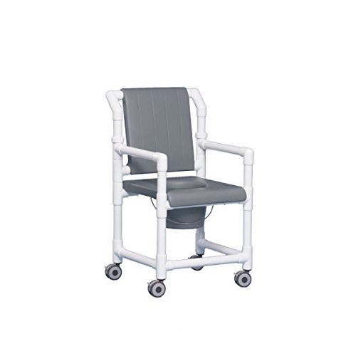 Dlx Shower Chair Commode W/Closed Seat & Dlx Back Gray
