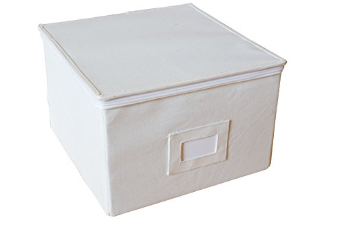 InThiSPACE Medium Canvas Box with Lid and Soft Cloth Liner, 11-inch x 11-inch x 7-inch, Tall