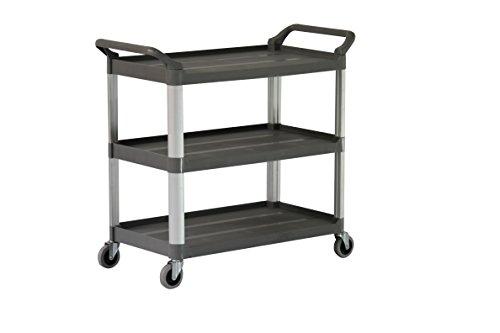 "Sandusky Lee PUC203434-3 Heavy Duty Plastic Utility Cart, 34"" Height x 34"" Width x 20"" Depth, 3 Shelves"
