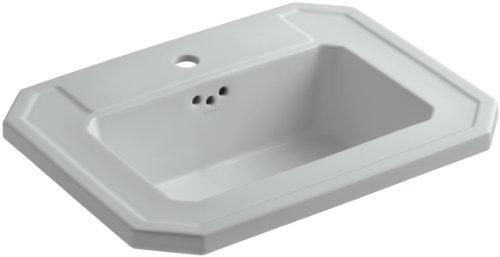 KOHLER K-2325-1-95 Kathryn Self-Rimming Bathroom Sink with Single-Hole Faucet Drilling, Ice Grey