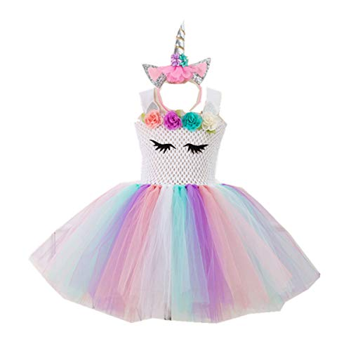 Kids Girls Tutu Unicorn Party Fancy Dress for Cosplay Festival Performance Birthday Wedding Carnival Halloween Ball Gown (Color1, 6-7 Years)