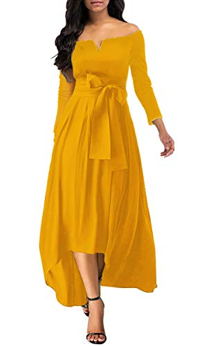 Annystore Women Sexy Off The Shoulder Solid Color High Low Belted Cocktail Party Maxi Dress Yellow M