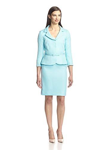 (Tahari ASL Light Blue Herringbone Striped Tina Two Piece Skirt Suit Set 16)