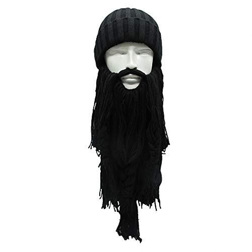 Tebapi Unisex Skullies Beanies Funny Handmade Women Men Wool Mustache Knitted Hats Face Mask Wig Beard Beanies Bonnet Caps Button Connected 010 ()