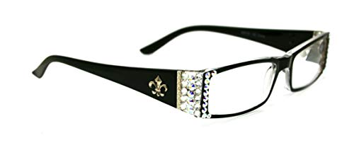 The French, Fleur De Lis, Rectangular Bling Women Reading Glasses Adorned with Clear + AB (Aurora Borealis) Swarovski Crystals +1.00 +1.50 +1.75 +2.00 +2.25 +2.50 +2.75 +3.00 BROWN. NY Fifth Avenue. (Fifth Avenue Crystal Aurora)