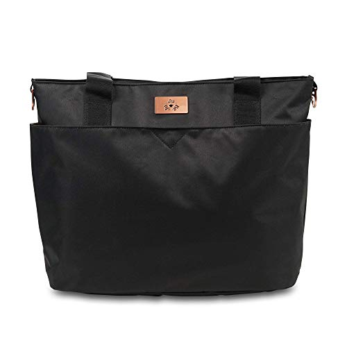 JuJuBe Encore Travel Diaper Tote Bag | Classic Collection | Lightweight, Everyday with Diaper Changing Pad | Black Rose, One Size