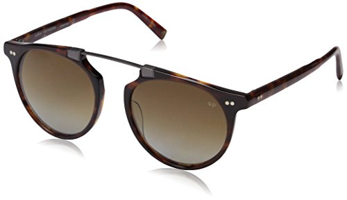 John Varvatos Men's V602 Polarized Round Sunglasses, Brown UF, 52 - Sunglasses Logo V