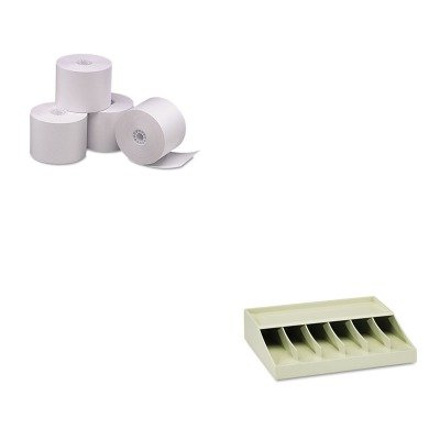 KITMMF210470089PMC05212 - Value Kit - Pm Company Single-Ply Thermal Cash Register/POS Rolls (PMC05212) and MMF Bill Strap Rack (MMF210470089)