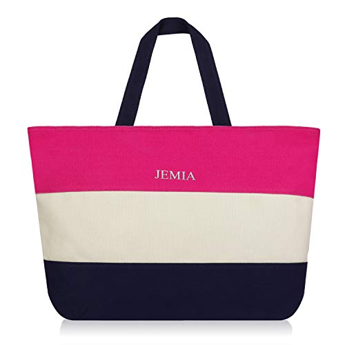 JEMIA Canvas Tote Bag with Zipper - Pink, White, Blue Stripe - Small Purses and Handbags for Women