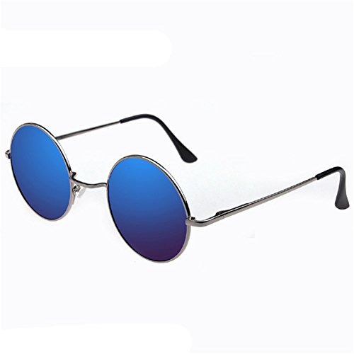 Z-P Unisex Round Metal Frame Dazzle Colour Film Reflective Sunglasses - Arista Color Film