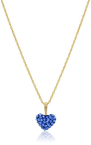 Amazon Collection10k Yellow Gold Swarovski Elements Sapphire Crystal 10mm with 14k Gold Filled Chain Puffed Heart Pedant...