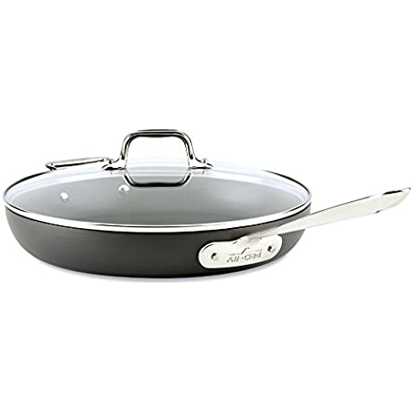 All Clad E7859664 HA1 Hard Anodized Nonstick Dishwasher Safe PFOA Free Fry Pan With Lid Cookware 12 Inch Medium Grey