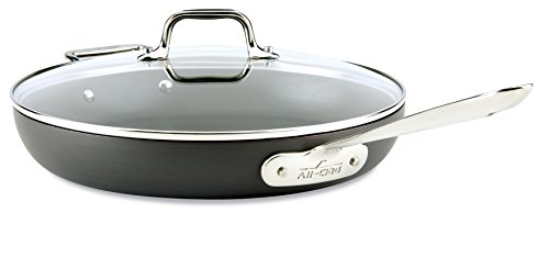 All-Clad E7859664 HA1 Hard Anodized Nonstick Dishwasher Safe PFOA Free Fry Pan with lid  Cookware, 12-Inch, Medium Grey