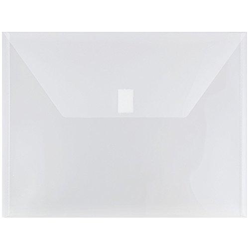 JAM PAPER Plastic Envelopes with Hook & Loop Closure - Letter Booklet - 9 3/4 x 13 - Clear - 12/Pack