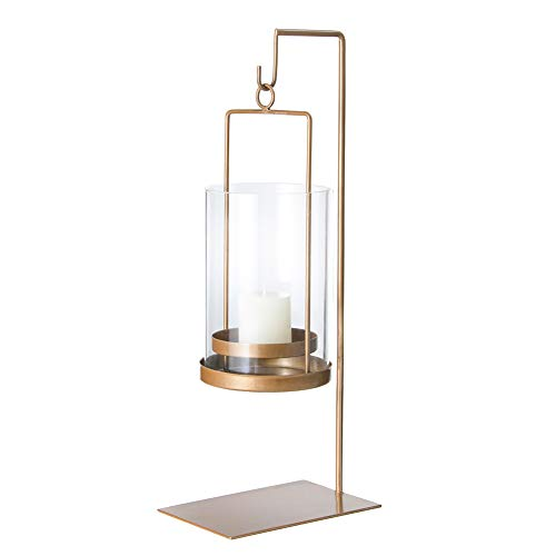 Conina Rustic Centerpiece Metal Candle Holder Hanging Decorative Hurricane Candle Lantern with Display Stand,Gold ()