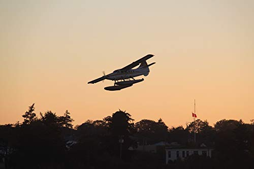 Home Comforts Peel-n-Stick Poster of Fly Victoria Seaplanes Sunset Seaplane Water Sea Vivid Imagery Poster 24 x 16 Adhesive Sticker Poster Print