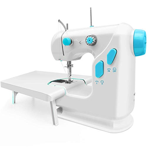 Mini Sewing Machine for Thick & Multiple Layers Fabrics, 2 Speed Embroidery Stitching Heavy Duty Quilting Machine Easy to Use with Extension Table, Foot Pedal Operation – White