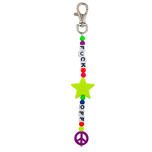 Lux Accessories $!# OFF Peace Star Beaded Dice Keychain ()