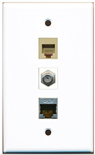 RiteAV - 1 Port Coax Cable TV- F-Type and 1 Port Phone RJ11 RJ12 Beige and 1 Port Shielded Cat6 Ethernet Wall Plate ()