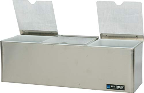 San Jamar B6183INL EZ-Chill Stainless Steel Condiment Center with Individual Notched Lid, 18