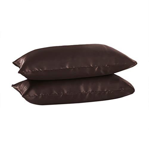 (Qingell Pack of 2, Velvet Soft Soild Decorative Square Throw Pillow Covers Set Cushion Case 20 x 30 Inch 51x76 cm Brown)