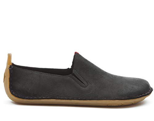 vivobarefoot Womens Ababa Black Leather Slip On
