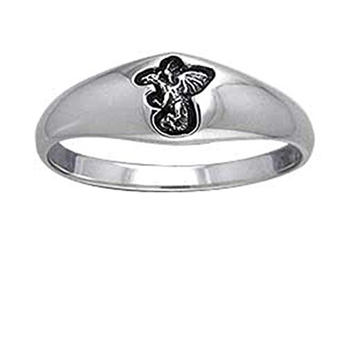 (Small Sterling Silver 6mm Engraved Dragon Band Pinky Ring Size 4(Sizes 4,5,6,7,8,9,10,11,12,13))