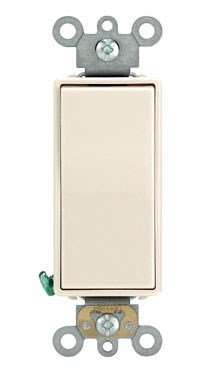 Leviton 5621-2T 20A 120/277V Decora Plus Rocker Single-Pole AC Quiet Switch, Commercial Grade, Back and Side Wired, Grounding, Light Almond